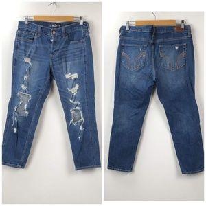 Hollister Distressed Button-fly Boyfriend Jeans
